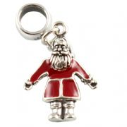 Red Santa Claus 3D Sterling Silver Dangle Charm / Carrier Bead